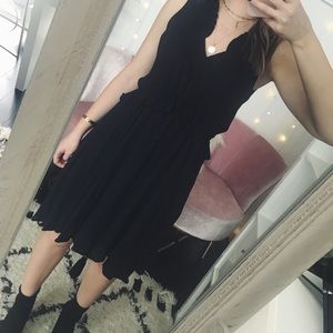 H&M Navy Dress with Ruffles and Tassels